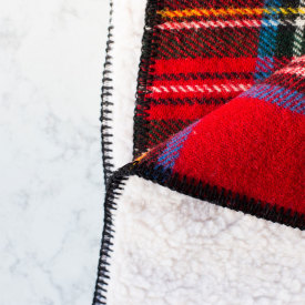 Fleece-Backed Royal Stewart Tartan Wool Blanket