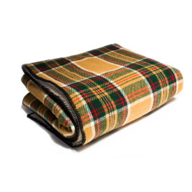 Fleece-Backed Wheat Stewart Tartan Wool Blanket