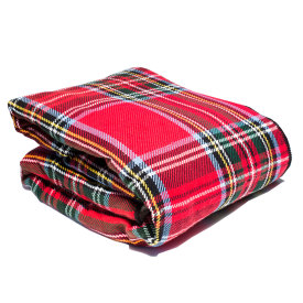 Fleece-Backed Royal Stewart Plaid Cotton Blanket