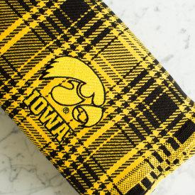 Black & Gold Plaid Cotton Blanket with Hawkeye Logo