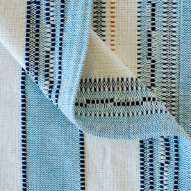 Amana Weave Stripe Throw Cornflower