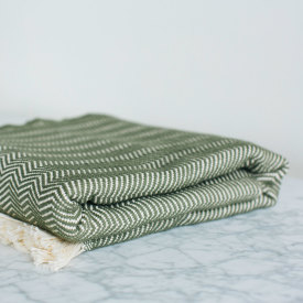 Olive Herringbone Cotton Blanket