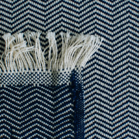 Navy Herringbone Cotton Blanket