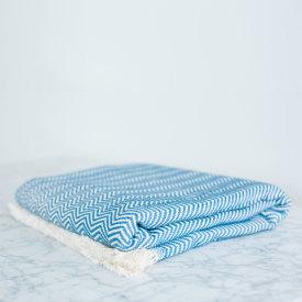 Cornflower Herringbone Cotton Blanket