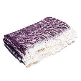 Plum Herringbone Cotton Blanket