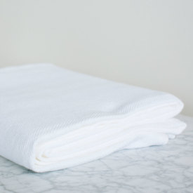 Solid Bleach White Chevron Bed Blanket