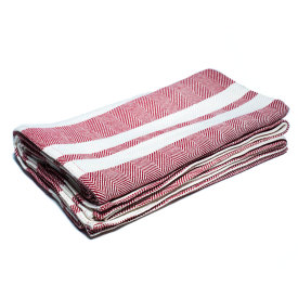 Burgundy/Bleach/Natural Cotton Bed Blanket