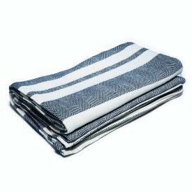 Navy/Bleach/Natural Cotton Bed Blanket