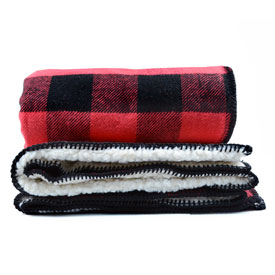 Fleece-Backed Black & Red Cotton Throw Blanket