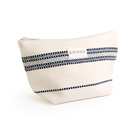 Amana Weave Cosmetic Bag - Natural with Navy Stripe