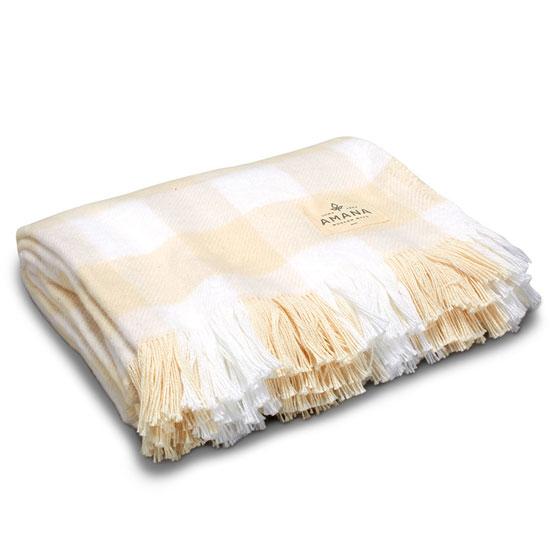 Natural & White Rob Roy Check Cotton Throw