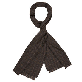Grid Merino Wool Scarf - Charcoal/Brown