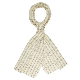 Grid Merino Wool Scarf - Ivory/Medium Heather Grey