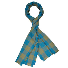 Buffalo Check Cotton Scarf - Olive/Teal